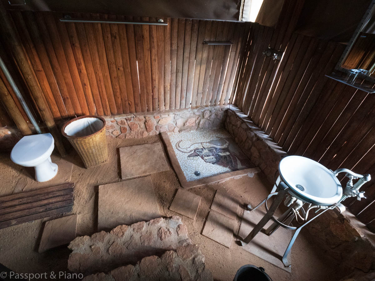 An image of the bathroom at the African Elegance Tented Lodge