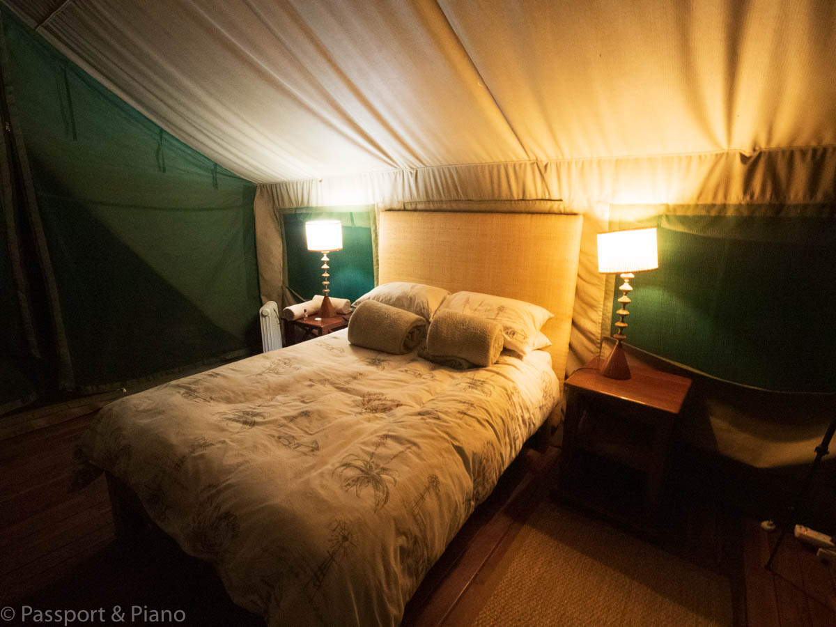 An image of the bedroom at the African Elegance Tented Lodge